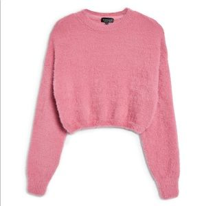 TopShop Petite Pink Cropped Fuzzy Long Sleeve Top